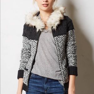 Anthropologie Sleeping On Snow Faux Fur Sweater